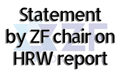 ZF Chair's response to Human Rights Watch report